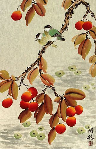 Birds and Loquat Fruit Wall Scroll close up view