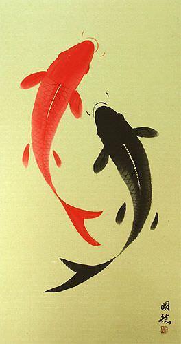 Large Yin Yang Fish Wall Scroll close up view