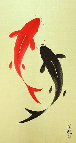 Yin Yang Fish - Jumbo-Size Wall Scroll close up view