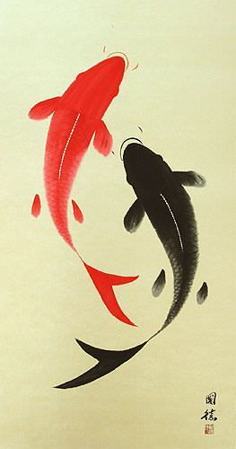 Yin Yang Koi Fish Large Chinese Scroll close up view