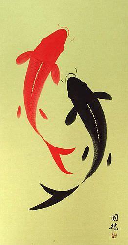 Yin Yang Koi Fish Large Asian Scroll close up view