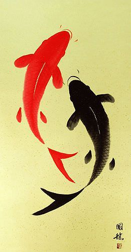 Yin Yang Koi Fish Large Oriental Scroll close up view