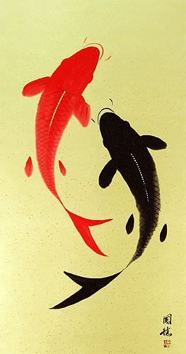 Yin Yang Fish - Huge-Size Wall Scroll close up view