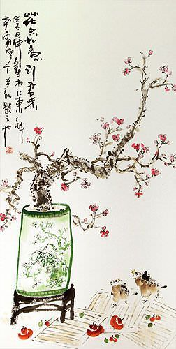 Large Plum Blossom Poetry Wall Scroll close up view