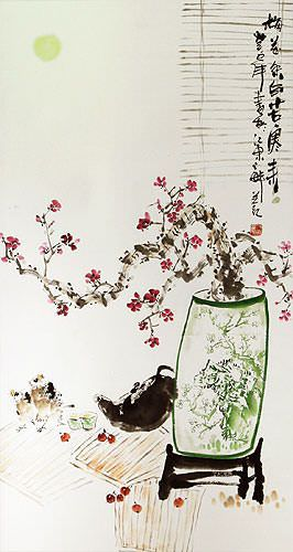 Large Plum Blossom Wall Scroll close up view