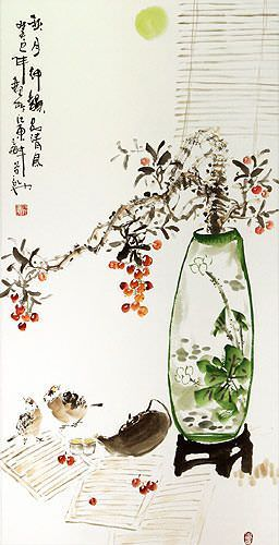 Traditional Antique-Style Plum Blossom Still Life - Large Wall Scroll close up view