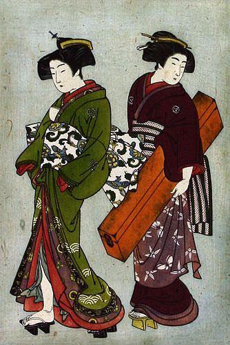 Geisha & Servant Carrying a Shamisen Box - Japanese Print - Wall Scroll close up view