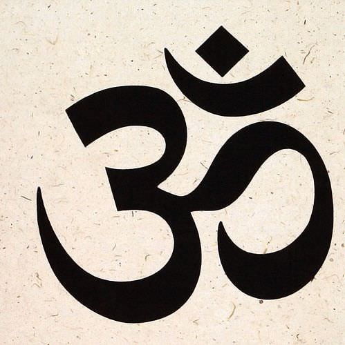 Om Symbol - Hindu / Buddhist Wall Scroll close up view