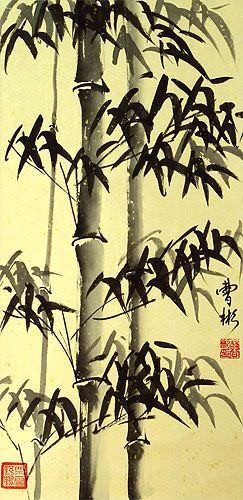Chinese Black Ink Bamboo - Short Wall Scroll close up view