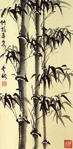 Asian Bamboo on Copper Brocade Wall Scroll close up view