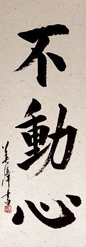 Immovable Mind - Japanese Kanji Calligraphy Wall Scroll close up view