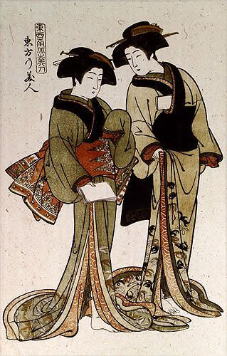 Beauties of the East - Japanese Woodblock Print Repro - Large Wall Scroll close up view