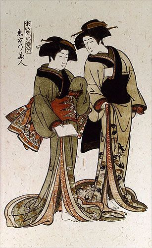 Japanese Woodblock Print Reproduction Wall Scroll close up view