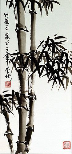 Bamboo Wall Scroll close up view