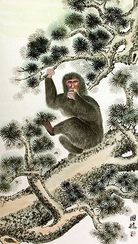Monkey in Pine Tree - Asian Wall Scroll close up view