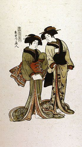 Beauties of the East - Japanese Woodblock Print Repro - Very Large Wall Scroll close up view