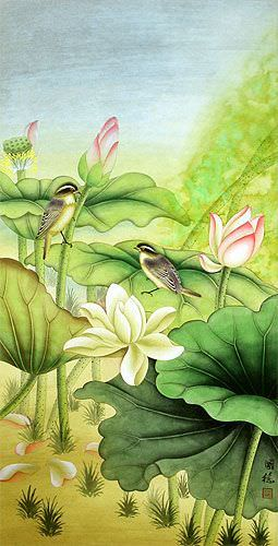 Asian Birds and Lotus Wall Scroll close up view