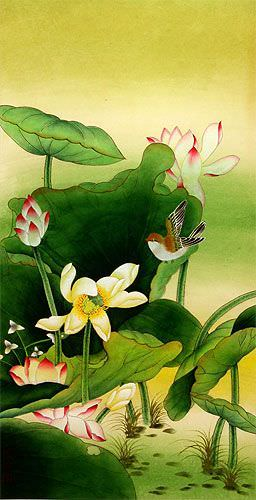 Gongbi Birds and Lotus Chinese Wall Scroll close up view