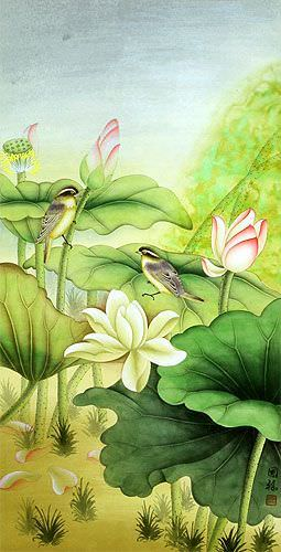 Beautiful Lotus and Little Birds Wall Scroll close up view