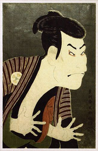 Sharaku's Otani Oniji as Edohei - Japanese Woodblock Print Repro - Wall Scroll close up view