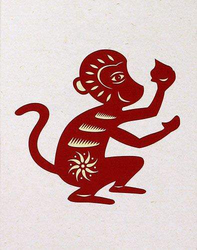 Monkey Symbol Print - Chinese Wall Scroll close up view