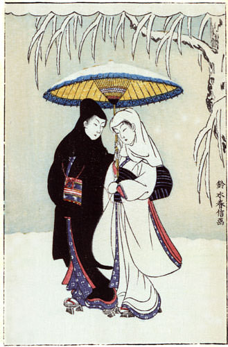 Lovers in the Snow - Japanese Woodblock Print Repro - Wall Scroll close up view