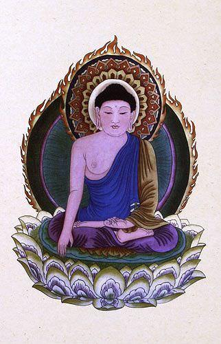 Buddhist Deity Print - Buddha Repro - Wall Scroll close up view