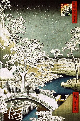 Bridge Landscape - Japanese Woodblock Print Repro - Wall Scroll close up view
