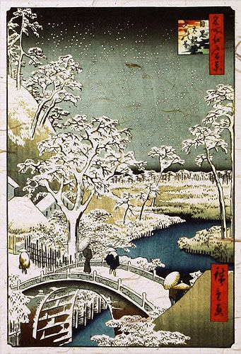Snowy Bridge Landscape - Japanese Woodblock Print Repro - Wall Scroll close up view