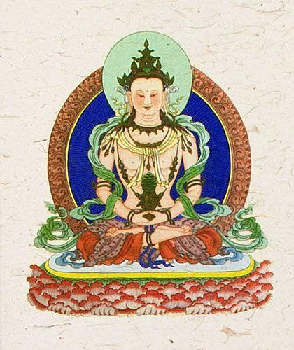 Buddha Deity Print - Wall Scroll close up view
