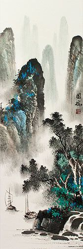 Chinese River Sailboat Landscape Wall Scroll close up view