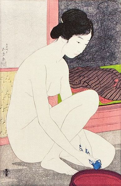 Nude Woman at the Bath - Japanese Woodblock Print Repro - Wall Scroll close up view