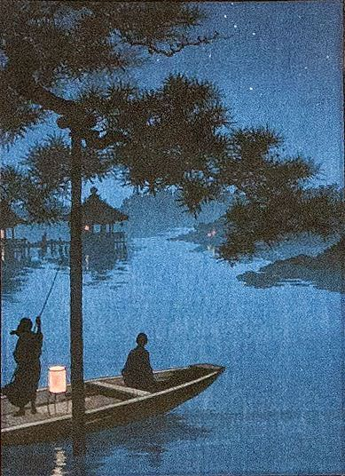 Shubi Pine Night Boat - Japanese Woodblock Print Repro - Wall Scroll close up view