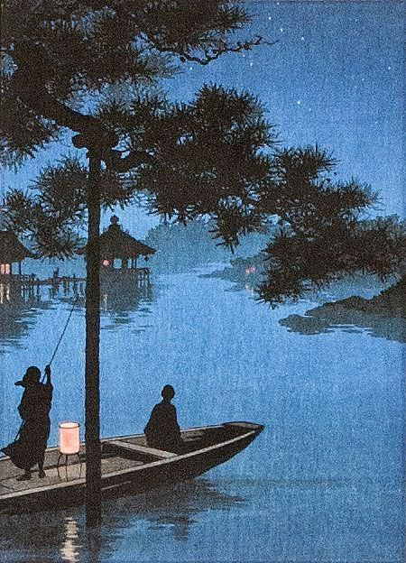 Shubi Pine at Lake Biwa - Japanese Woodblock Print Repro - Wall Scroll close up view