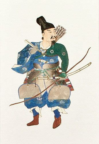 The Noble Archer Warrior - Japanese Woodblock Print Repro - Wall Scroll close up view