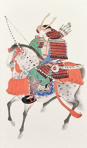 Samurai Warrior on Horseback- Japanese Woodblock Print Repro - Wall Scroll close up view