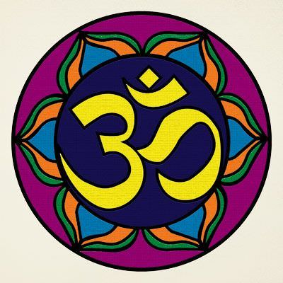 Colorful Om Symbol - Hindu / Buddhist Wall Scroll close up view