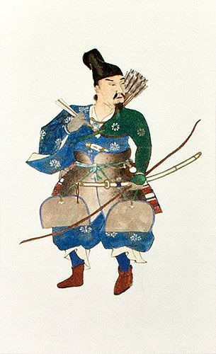 Japanese Archer Samurai Wall Scroll close up view