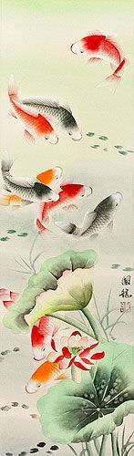 Koi Fish & Lotus Flower - Chinese Wall Scroll close up view