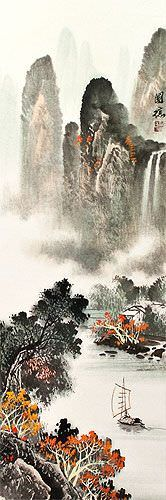 Asian Waterfall and Boat on River Landscape Wall Scroll close up view