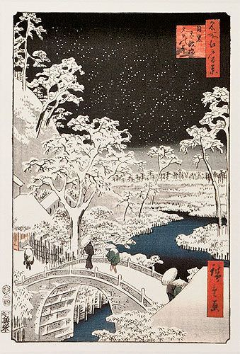Snowy Bridge Landscape - Japanese Woodblock Print Repro - Small Wall Scroll close up view