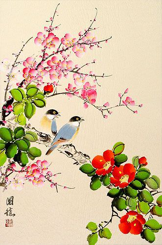 Birds Plum Blossom and Flower Wall Scroll close up view