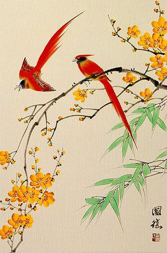 Red Cardinals and Yellow Plum Blossom Wall Scroll close up view