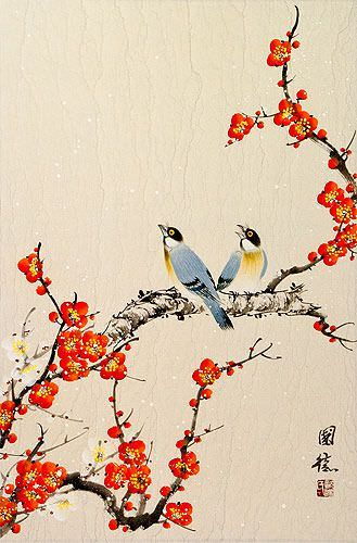 Birds and Bright Red-Orange Plum Blossom Wall Scroll close up view