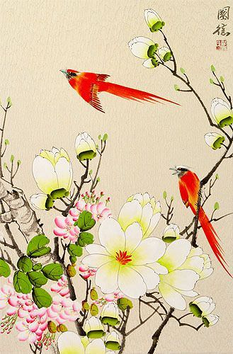 Red Cardinals and Bright Flowers Wall Scroll close up view