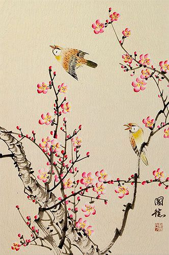 Birds and Bright Pink Plum Blossom Wall Scroll close up view