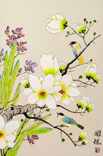 Bird & Flower Painting on Wall Scroll close up view