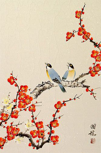 Birds & Bright Red-Orange Plum Blossom Wall Scroll close up view