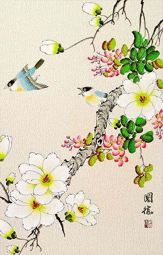 Two Birds and Flower Wall Scroll close up view