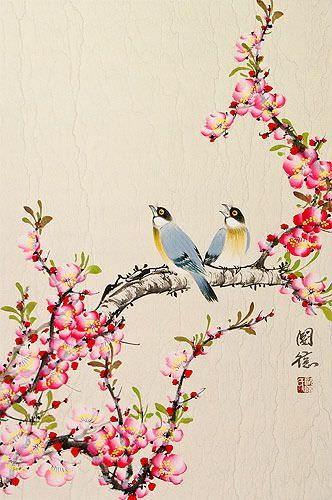 Birds and Bright Red-Pink Plum Blossom Wall Scroll close up view